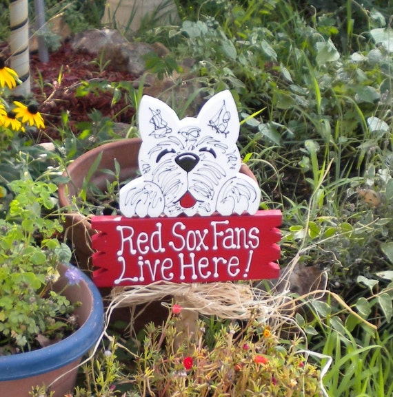 Pets Yard Sign 2 - Westie Red Sox Fans