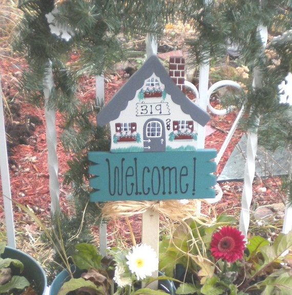 Items similar to yard sign 181 welcome house with house - House number signs for yard ...