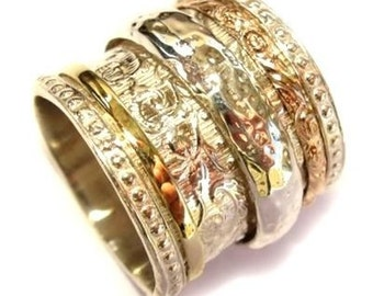 Sterling silver integrated 9K yellow gold filigree band