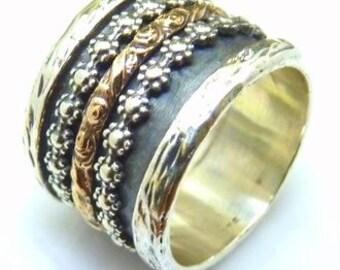 Sterling silver integrated 9K Gold Spinner  Wedding Ring  Israel