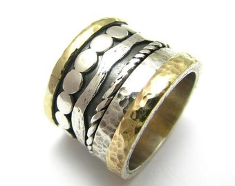 Sterling silver integrated 9K Gold Spinner Ring Band
