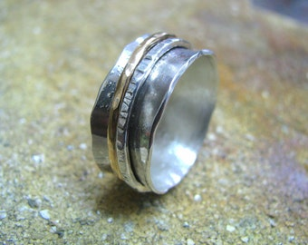 925 Sterling silver integrated  goldfield Spinner  Ring Band