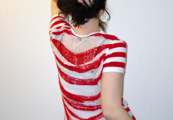 Reserved Red and White Striped Shredded Tshirt Recycled Upcycled 50% off