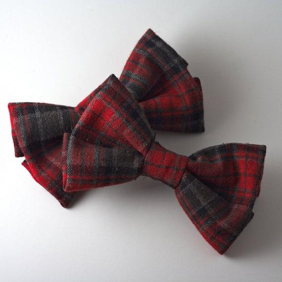 Handmade Black and Red Plaid Hair Bow Clip