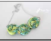 Green and Turquoise: Rolled Fabric Flower Necklace