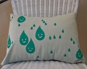 Teal and blue Happy Raindrops printed pillow cover