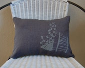 Gray on gray Bucket of Butterflies printed pillow cover