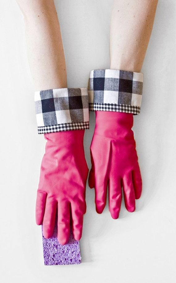 Black & White Gingham Rubber Gloves