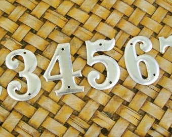Vintage Small Old Stock Industrial Hardware Store Metal Number Tiles 10 Piece Numbers 0 - 9