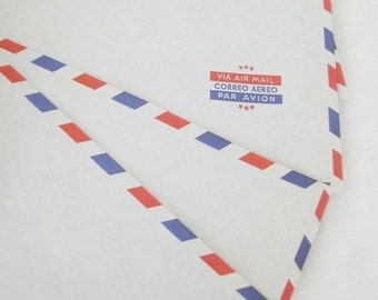 Vintage Long Via AIR MAIL Envelopes 12 Piece Par Avion
