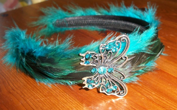ONE WEEK SALE Turquoise, Green and Black Butterfly Feather Headband
