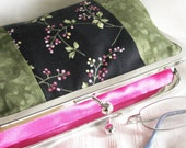 Handmade, hand dyed, patchwork clutch. Pink, green, black print. ROSEMARY AND THYME by Lella Rae on Etsy