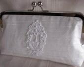 Handmade embellished silk clutch handbag. White. CINDERELLA'S WEDDING by Lella Rae on Etsy