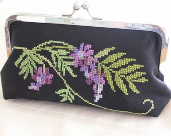 Handmade, hand embroidered clutch handbag. Purple, green. WISTERIA GARDEN by Lella Rae on Etsy
