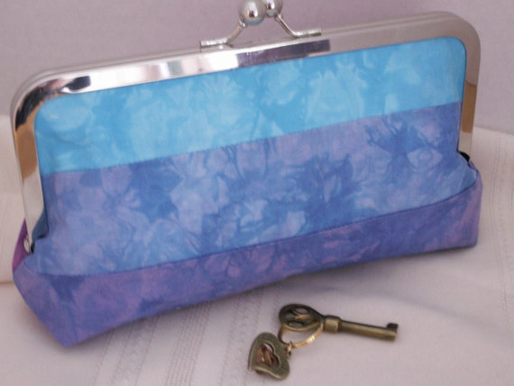 Handmade, hand-dyed, patchwork clutch. Pink, purple, blue. MIRROR POOL by Lella Rae on Etsy