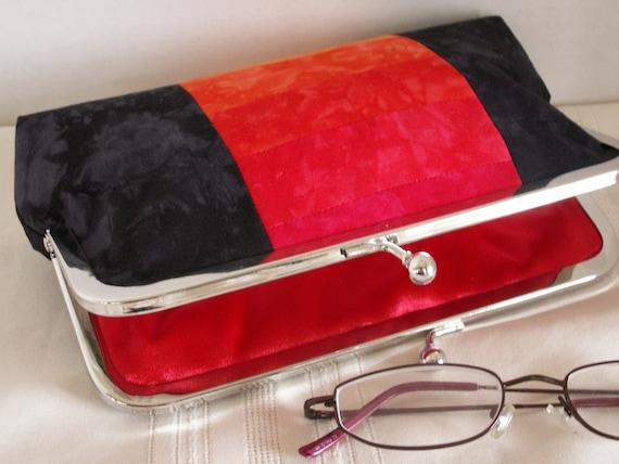 Handmade, hand dyed, patchwork clutch handbag. Black, red, orange.gold. FIRESIDE by Lella Rae on Etsy