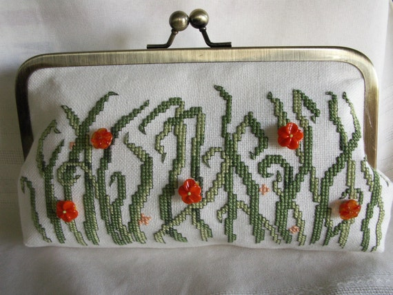 Handmade, cross stitched, beaded clutch. Green, orange. FIELD FLOWERS by Lella Rae on Etsy