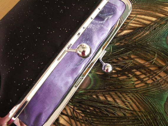 Handmade glitter evening clutch handbag. Black. STARRY NIGHT by Lella Rae on Etsy