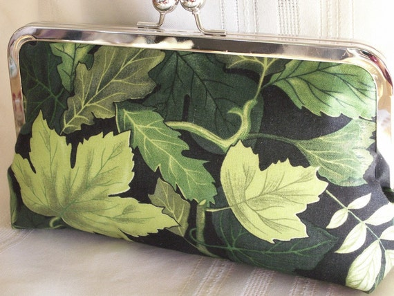 Handmade cotton clutch Shades of green. FOREST SONATA by Lella Rae on Etsy