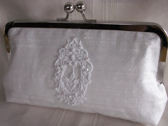 Handmade embellished silk clutch handbag. White. CINDERELLA'S WEDDING by Lella Rae on Etsy