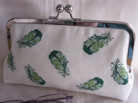 Handmade, embroidered clutch handbag. Green, aqua, turquoise. GREEN FEATHERS by Lella Rae on Etsy