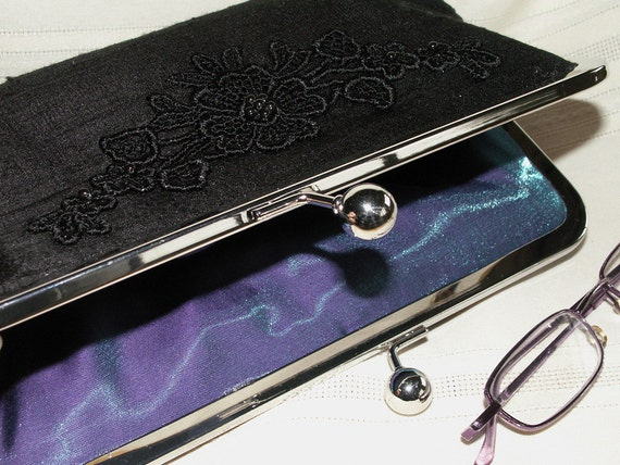Handmade silk, lace, pearl clutch handbag. Black. Love in the Night by Lella Rae on Etsy
