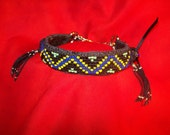 Black 12 in Yellow and Blue Seed Beaded Martingale Collar