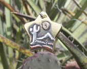 Brass Star Shaped Dog Tag with Sterling Cactus & Brass Sun
