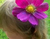 purple poppy hair clip with head band