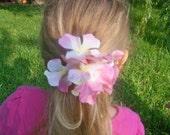 hydrangea flower ponytail holder