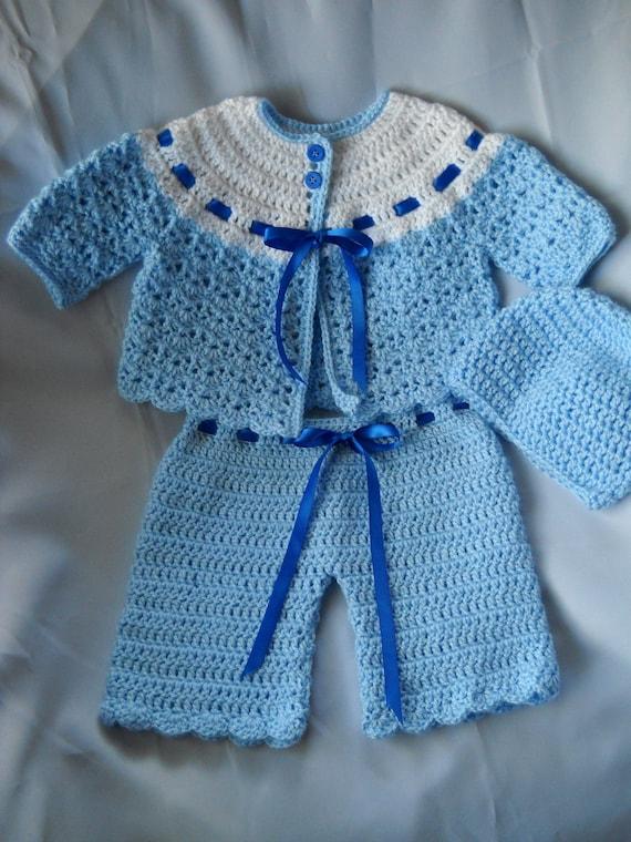 Crochet Baby Sweater Set Pale Blue