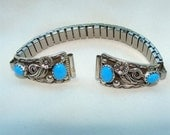 VINTAGE Navajo Sterling Silver Turquoise WATCH TIPS with Band