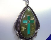 Large Vintage NAVAJO Pendant with GREEN Turquoise CROSS and Sterling