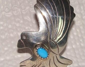 Turquoise Navajo EAGLE TIE TACK Vintage Sterling