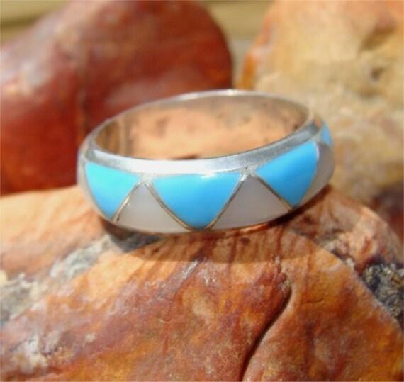 Navajo Indian WEDDING BAND Sterling Silver Ring HANDMADE