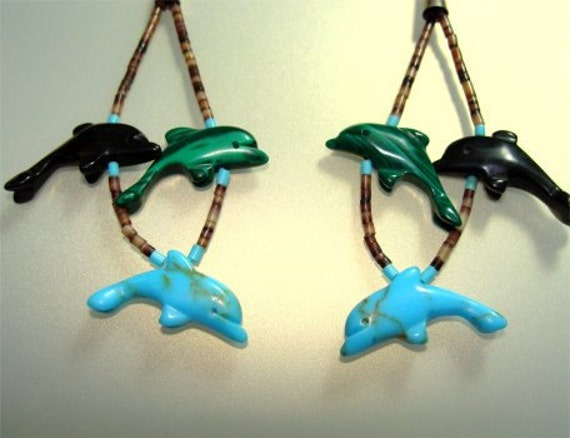 Turquoise Onyx Malachite DOLPHIN Native American EARRINGS with Porcupine QUILLS