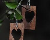 Black Walnut Heart Earrings