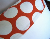 Orange and Ivory Circle Accent Pillow