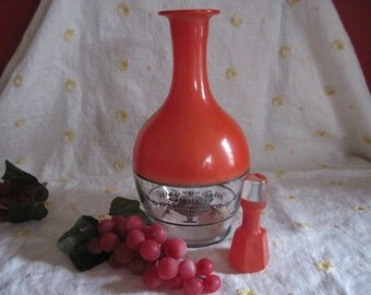 Art Deco Decanter with Silver Rose Basket Overlay