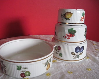 Staffordshire Oven to Table Salem Fruit Pattern Nesting Bowls and Casserole