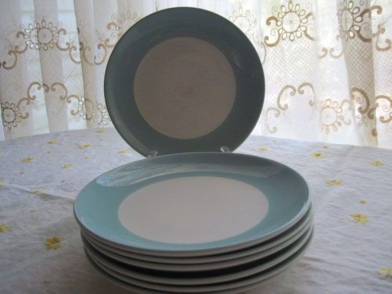 7 Mid Century American China Turquoise Rimmed Luncheon Plates