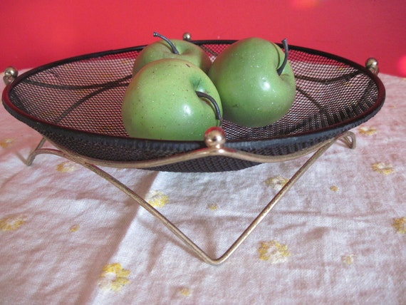 Mid Century Modern Black Mesh Wire Basket