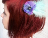 Robins egg blue fascinator with a pearly touch