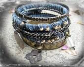 Faded Jeans.Gypsy bangle stack bracelets