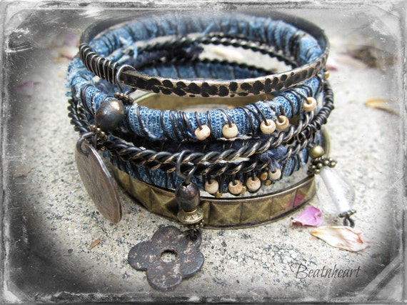 Faded Jeans.Gypsy bangle stack bracelets