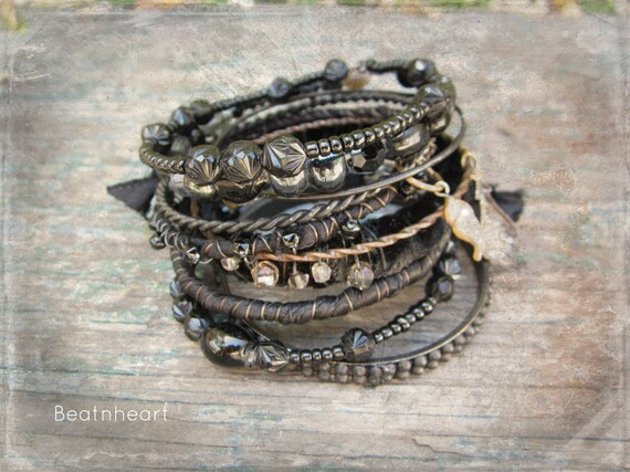 After Midnight.Gypsy bangle stack bracelets