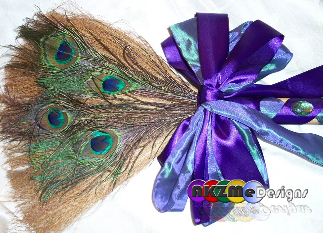peacock and purple wedding broom