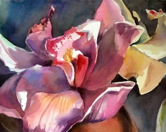 Orchid - Floral Original Watercolor painting by SriWatercolors 22 x 30 in
