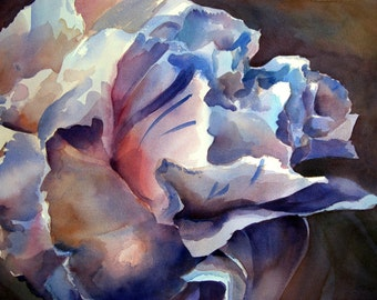 Blue Carnation - Floral Watercolor ORIGINAL painting by SriWatercolors - 22 x 30 in