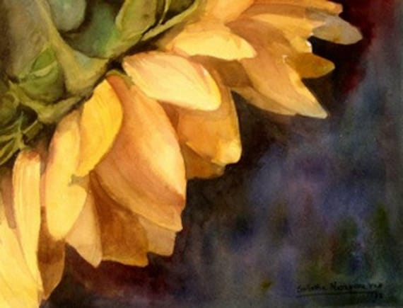 Sunflower - Floral watercolor painting fine art Giclee print - open edition by SriWatercolors - 11 x 14 in